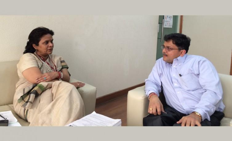Pranav Desai with Smt Stuti Kacker, Secretary of Department of Disability Affairs, Govt of India