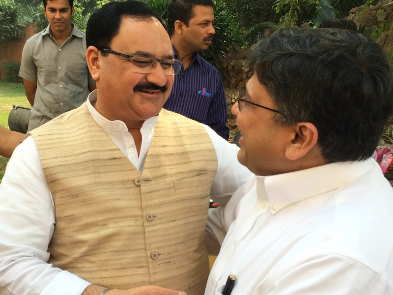Pranav with H'ble Health Minister (Govt. of India), Shri Nadda ji