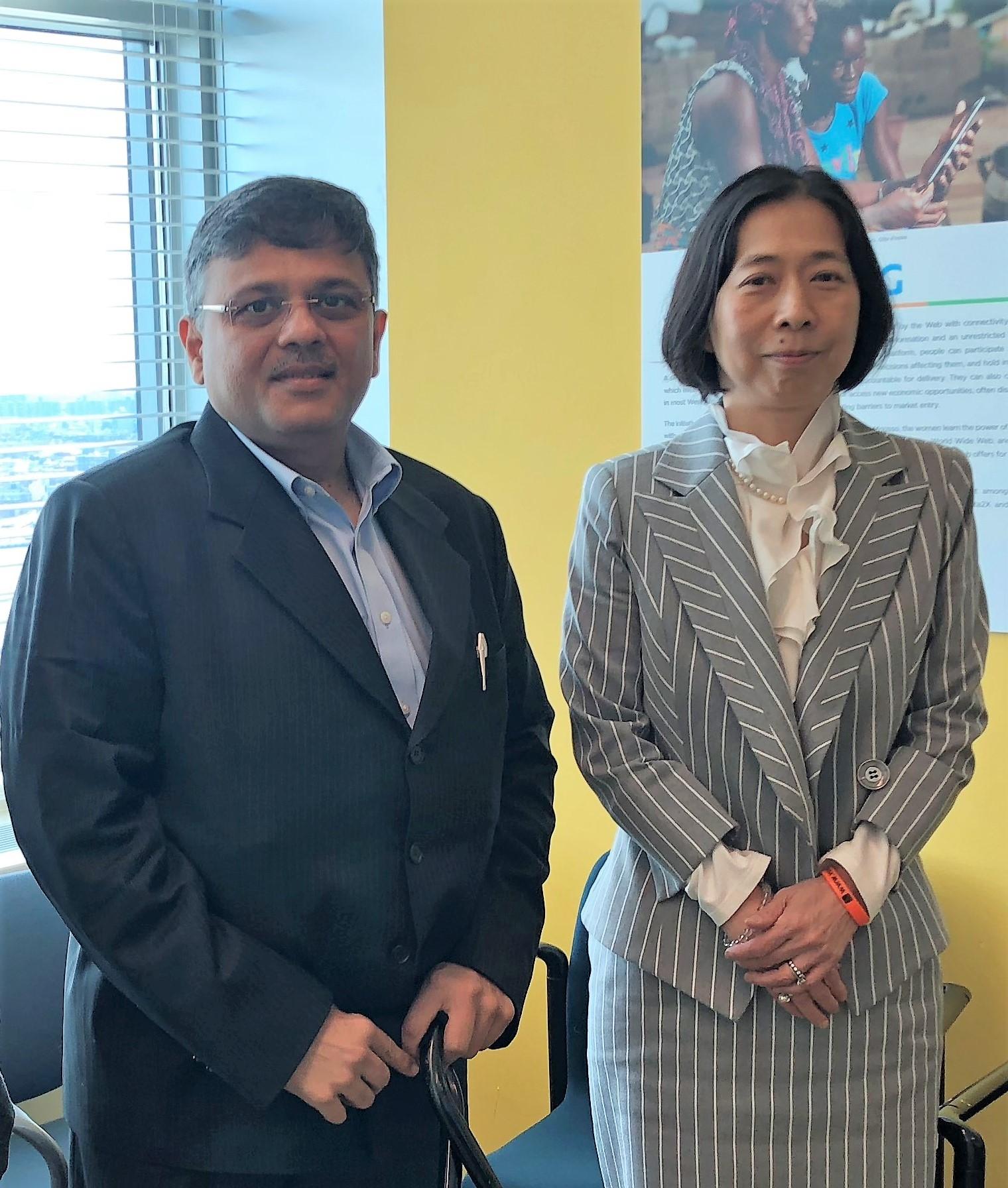 Pranav Desai with Dr Akiko, Chief, UN for CRPD